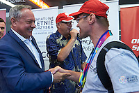 during official welcome of the Special Olympics Poland Team on August 4, 2015 at Okecie Airport in Warsaw, Poland.<br /> Poland, Warsaw, August 4, 2015<br /> <br /> Picture also available in RAW (NEF) or TIFF format on special request.<br /> <br /> For editorial use only. Any commercial or promotional use requires permission.<br /> <br /> Adam Nurkiewicz declares that he has no rights to the image of people at the photographs of his authorship.<br /> <br /> Mandatory credit:<br /> Photo by &copy; Adam Nurkiewicz / Mediasport