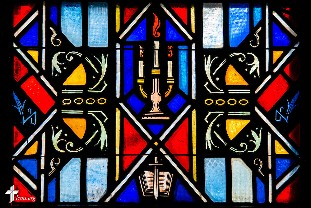 Stained glass at Luther Memorial Chapel depicts Scripture, on Friday, Jan. 29, 2016, in Shorewood, Wis. LCMS Communications/Erik M. Lunsford