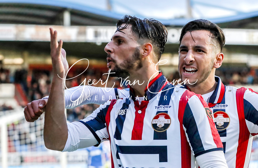 (L-R) Fran Sol of Willem II, Ismail Azzaoui of Willem II