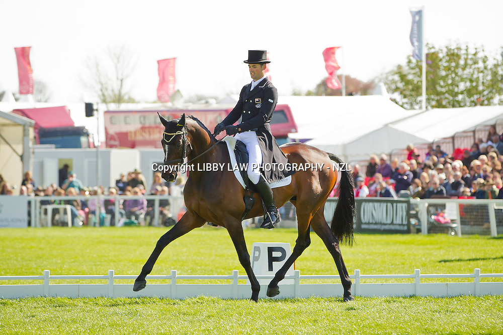 BEST PLACED NZL RIDER AFTER THE DRESSAGE TEST: NZL-Jonathan Paget (CLIFTON PROMISE) 2013 GBR-Mitsubishi Motors Badminton International Horse Trail CCI4*: SATURDAY DRESSAGE: Interim: 4TH CREDIT: Libby Law - COPYRIGHT: LIBBY LAW PHOTOGRAPHY - NZL (Saturday 4 May 2013)