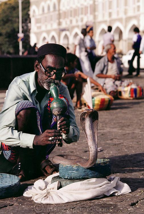Snake charmer in front of the Taj Mahal Hotel, Bombay, India.