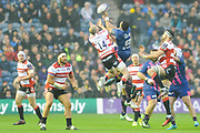 Charlie Sharples and Will Genia fight for the ball during the European Rugby Challenge Cup match between Gloucester Rugby and Stade Francais at BT Murrayfield, Edinburgh, Scotland on 12 May 2017. Photo by Kevin Murray.