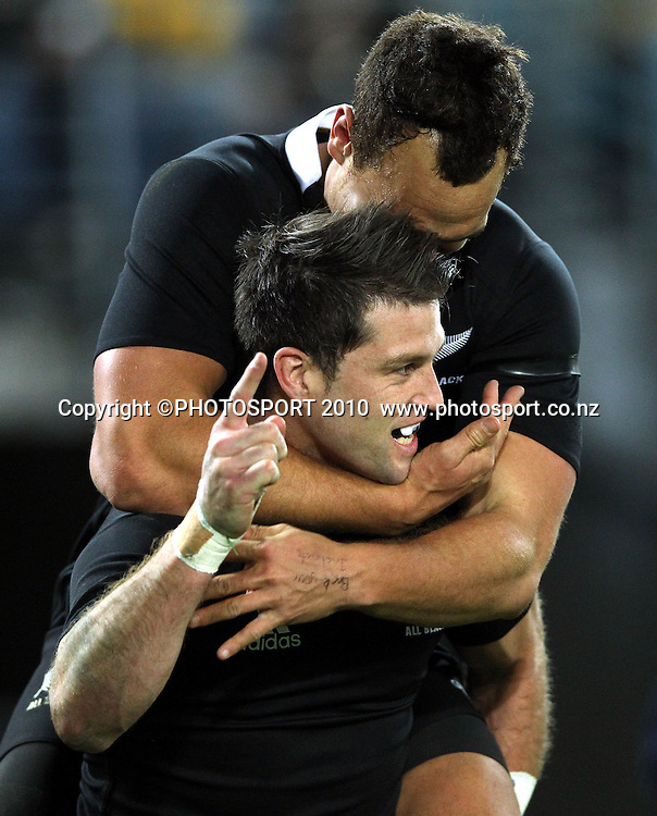 Cory Jane congratulated by Israel Dagg<br /> International Test rugby union match, Australia v New Zealand, Sydney, Australia. Saturday 18 August 2012. Photo: Paul Seiser/PHOTOSPORT