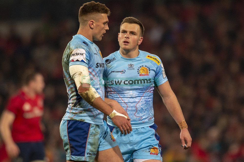 January 19, 2019 - Limerick, Ireland - Henry Slade and Joe Simmonds of Exeter pictured during the Heineken Champions Cup match between Munster Rugby and Exeter Chiefs at Thomond Park in Limerick, Ireland on January 19, 2019  (Credit Image: © Andrew Surma/NurPhoto via ZUMA Press)