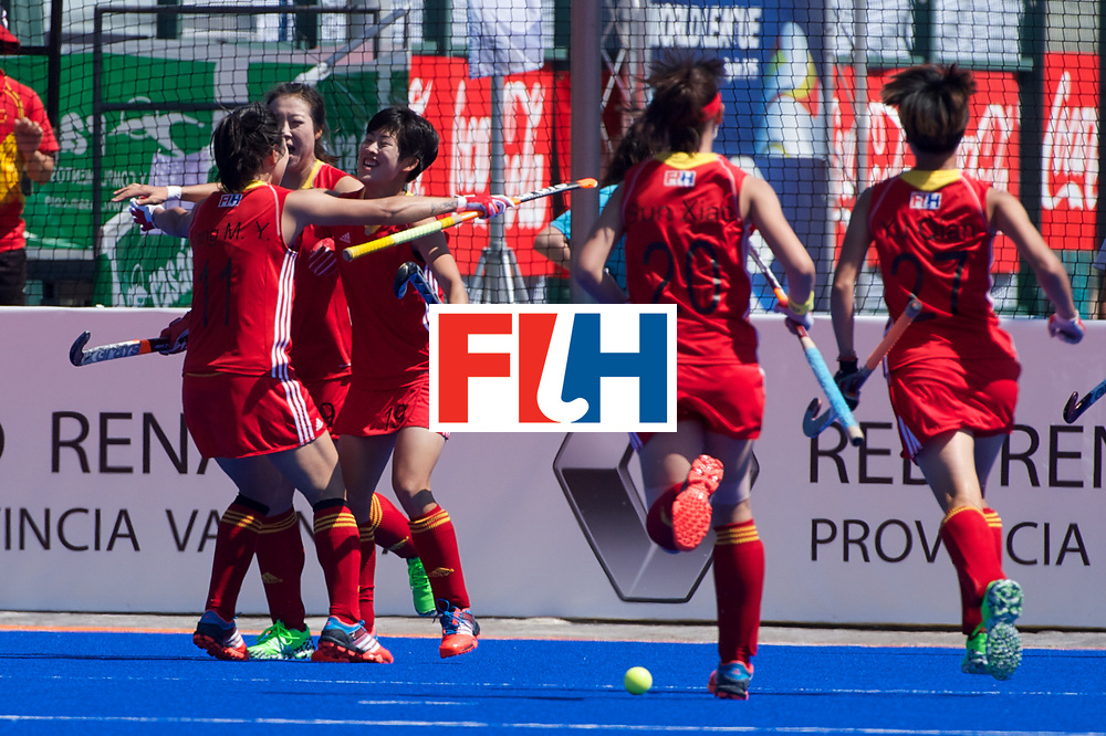 RIO 2016 Olympic qualification, Hockey, Women, quarterfinal, Ireland vs China : Xiaoxue Zhang scores the goal for China