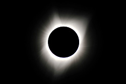 The corona of the sun is visible during the totality of the solar eclipse viewed from Dallas Ore., on August 21, 2017. (Photo by Alex Milan Tracy)