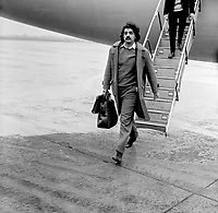 Tariq Ali, former president, Oxford Union, on arrival at Aldergrove International Airport, Belfast, N Ireland, to speak to the New Ireland Society, Queen's University. 19690114008TA2<br /> Copyright Image from Victor Patterson, 54 Dorchester Park, <br /> Belfast, UK, BT9 6RJ<br /> <br /> t1: +44 28 9066 1296 (from Rep of Ireland 048 9066 1296)<br /> t2: +44 28 9002 2446 (from Rep of Ireland 048 9002 2446)<br /> m: +44 7802 353836<br /> <br /> e1: victorpatterson@me.com<br /> e2: victorpatterson@gmail.com<br /> <br /> www.victorpatterson.com<br /> <br /> Please see my Terms and Conditions of Use at VICTORPATTERSON.COM. It is IMPORTANT that you familiarise yourself with them.<br /> <br /> Images used on the Internet must be visibly watermarked i.e. ©VICTORPATTERSON.COM within the body of the image and copyright metadata must not be deleted. Images used on the Internet have a size restriction of 4kbs and are chargeable at the then current NUJ rates.<br /> <br /> This image is only available for the use of the download recipient i.e. television station, newspaper, magazine, book publisher, etc, and must not be passed on to any third party. It is also downloaded on condition that each and every usage is notified within 7 days to victorpatterson@me.com<br /> <br /> The right of Victor Patterson to be identified as the author is asserted in accordance with The Copyright Designs And Patents Act (1988).