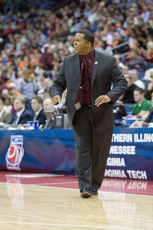 Southern Illinois Salukis Head Coach Chris Lowery in action against Holy Cross.  The #4 seed Southern Illinois Salukis defeated the #13 seed Holy Cross Crusaders 61-51  in the first round of the Men's NCAA Tournament in Columbus, OH on March 16, 2007.