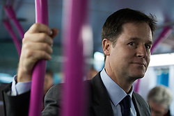 © Licensed to London News Pictures . 12/12/2014 . Sheffield , UK . The Deputy Prime Minister , NICK CLEGG MP , rides through Sheffield City Centre on a bus after confirming a deal to devolve power from Whitehall to Sheffield . Photo credit : Joel Goodman/LNP