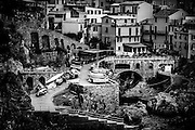 Manarola fishing boats on the Cinque Terra. Black and white photo.