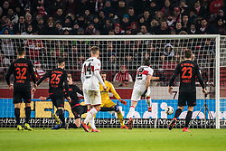 STUTTGART, Feb. 4, 2019  Stuttgart's Emiliano Insua (2nd R) scores during a German Bundesliga match between VfB Stuttgart and SC Freiburg in Stuttgart, Germany, Feb. 3, 2019. The match ended 2-2. (Credit Image: © Kevin Voigt/Xinhua via ZUMA Wire)