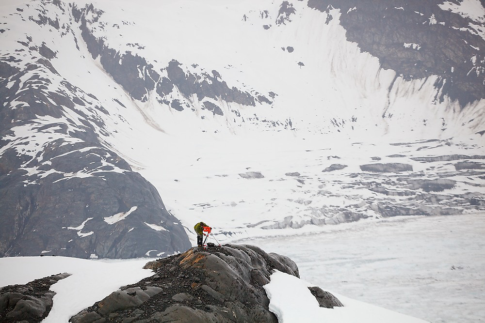 Dr. Tad Pfeffer, a glaciologist at the University of Colorado, installs a time lapse camera at the Columbia Glacier, near Valdez, Alaska.