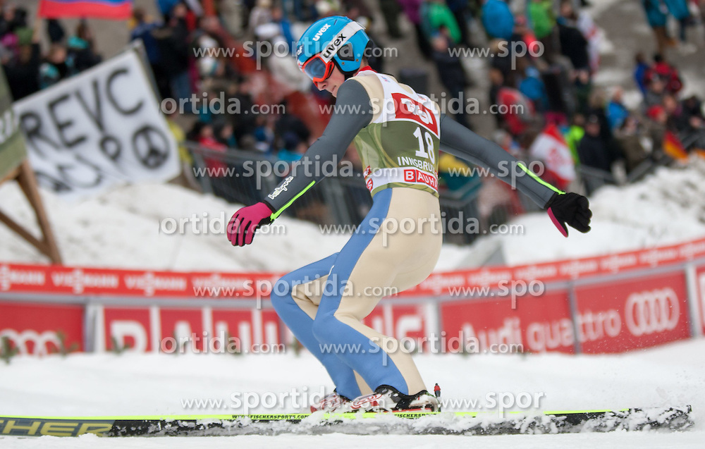 03.01.2015, Bergisel Schanze, Innsbruck, AUT, FIS Ski Sprung Weltcup, 63. Vierschanzentournee, Innsbruck, Qalifikations-Sprung, im Bild Bartlomiej Klusek (POL) // Bartlomiej Klusek of Poland reacts after his qualification jump for the 63rd Four Hills Tournament of FIS Ski Jumping World Cup at the Bergisel Schanze in Innsbruck, Austria on 2015/01/03. EXPA Pictures © 2015, PhotoCredit: EXPA/ Jakob Gruber