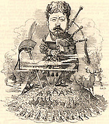 William Douglas-Hamilton, 12th Duke of Hamilton (1845-1895), Scottish aristocrat who succeeded to the title in 1863.  Hamilton playing the bagpipes. Cartoon by Edward Linley Sambourne in the Punch's Fancy Portraits series from 'Punch' (London, 15 October 1881).