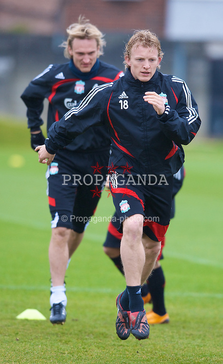 LIVERPOOL, ENGLAND - Thursday, March 20, 2008: Liverpool's Dirk Kuyt and Sami Hyypia training at Melwood ahead of the Premiership clash with Manchester United on Easter Sunday. (Photo by David Rawcliffe/Propaganda)