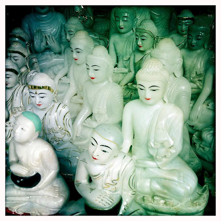 Buddhas ready for shipping, near the Shwedagon Paya - Yangon (Rangoon) Myanmar (Burma) January 2012