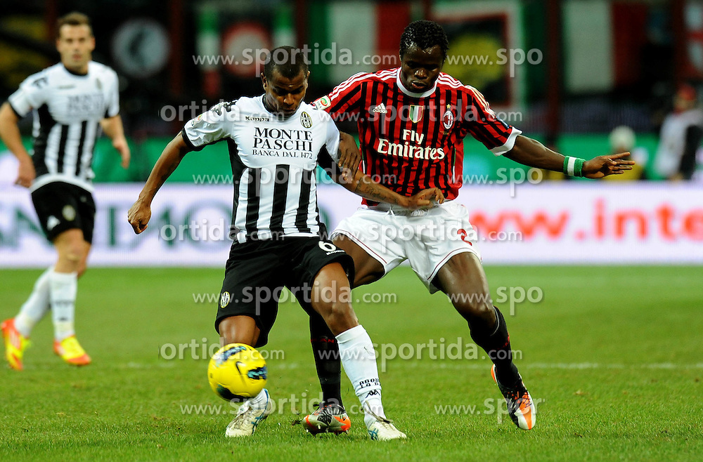 17.12.2011, Stadion Giuseppe Meazza, Mailand, ITA, Serie A, AC Mailand vs AC Siena, 16. Spieltag, im Bild Taye TAIWO (Milan), ANGELO (Siena) // during the football match of Italian 'Serie A' league, 16th round, between AC Mailand and AC Siena at Stadium Giuseppe Meazza, Milan, Italy on 2011/12/17. EXPA Pictures © 2011, PhotoCredit: EXPA/ Insidefoto/ Alessandro Sabattini..***** ATTENTION - for AUT, SLO, CRO, SRB, SUI and SWE only *****
