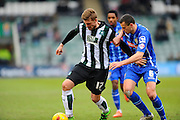 Plymouth Argyle's Ryan Brunt and Notts County's Haydn Hollis during the Sky Bet League 2 match between Plymouth Argyle and Notts County at Home Park, Plymouth, England on 27 February 2016. Photo by Graham Hunt.