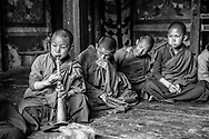 A young monk practices sacred songs on a trumpet at a rural Buddhist temple. Haa Valley, Bhutan. / Un joven monje practica música sagrada en trompeta en un templo budista rural. Valle de Haa, Bután