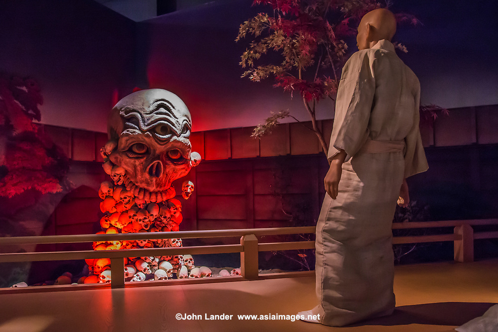 Kiyomori meets the harbingers of doom, composed of skulls - <br /> Heike Monogatari Wax Museum - The rise and fall of the Heike clan is reproduced in a massive scale using 260 wax figures, in seventeen scenes using historical dioramas. There is also a gallery introducing famous persons from Shikoku and Japan such as prime ministers, baseball players, enka singers and more.  This is the largest wax museum in Japan.  It&rsquo;s main theme, of course is the history of the genpei war, narrated by a lute playing priest.