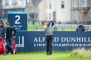 Paul Waring plays his tee shot at the 2nd hole during the final round of the Alfred Dunhill Links Championship European Tour at St Andrews, West Sands, Scotland on 29 September 2019.