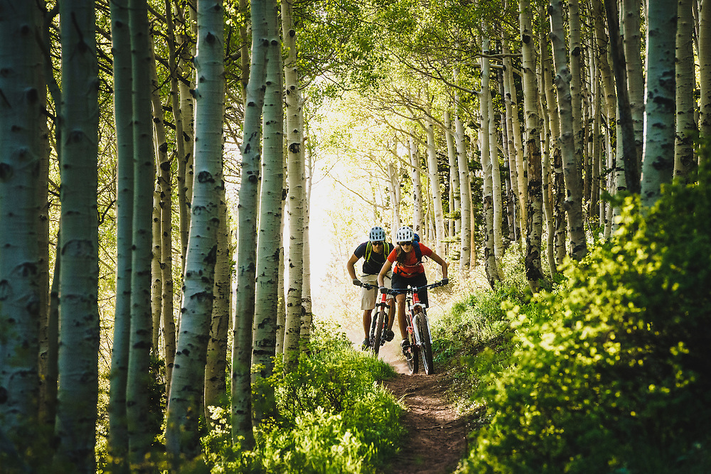 Syd Schulz and Macky Franklin rolling the Wasatch Crest Trail, Utah.