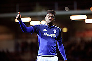 Cardiff City midfielder, Sammy Ameobi (38) giving thumbs up during the Sky Bet Championship match between Brentford and Cardiff City at Griffin Park, London, England on 19 April 2016. Photo by Matthew Redman.