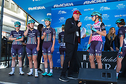 Trek-Drops Cycling Team riders enjoy the attention before Stage 3 of the Amgen Tour of California - a 70 km road race, starting and finishing in Sacramento on May 19, 2018, in California, United States. (Photo by Balint Hamvas/Velofocus.com)