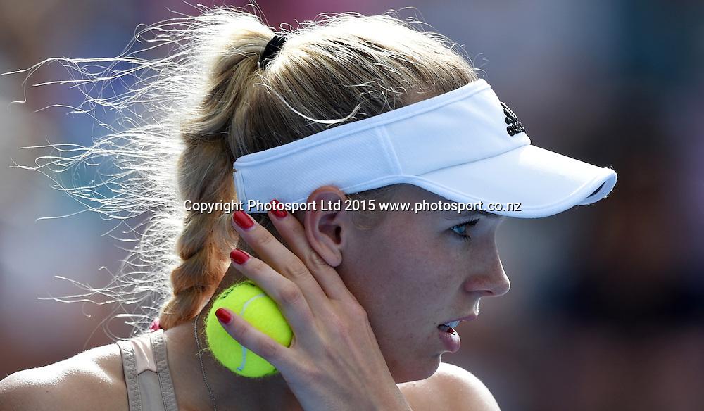 Denmark's Caroline Wozniacki on Quarter Finals day at the ASB Classic WTA International. ASB Tennis Centre, Auckland, New Zealand. Thursday 8 January 2015. Copyright photo: Andrew Cornaga/www.photosport.co.nz