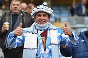 A Coventry City fan wearing a Sky Blue and White suit with Scarf and hat during the EFL Sky Bet League 1 match between Coventry City and Charlton Athletic at the Ricoh Arena, Coventry, England on 26 December 2018.