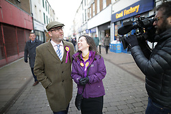 © Licensed to London News Pictures . 27/01/2017 . Whitehaven , UK . UKIP leader Paul Nuttall and candidate Fiona Mills with deputy leader Peter Whittle AM visiting the constituency of Copeland to launch the party's by-election office .  The seat became vacant after sitting MP Jamie Reed resigned . Photo credit : Joel Goodman/LNP