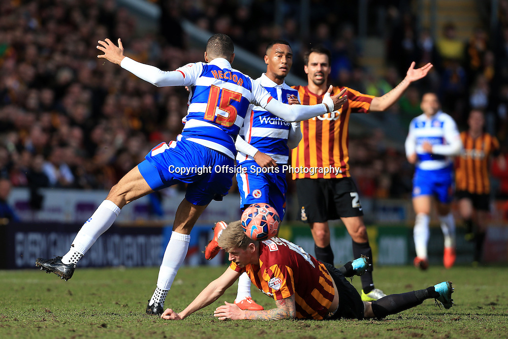 7th March 2015 - FA Cup - Quarter-Final - Bradford City v Reading - Jonathan Stead of Bradford goes down under a challenge from Michael Hector of Reading - Photo: Simon Stacpoole / Offside.