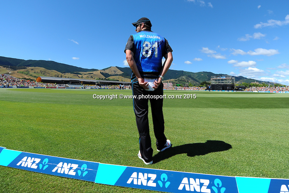 Black Cap player Mitchell McClenaghan during Match 4 of the ANZ One Day International Cricket Series between New Zealand Black Caps and Sri Lanka at Saxton Oval, Nelson, New Zealand. Tuesday 20 January 2015. Copyright Photo: Chris Symes/www.Photosport.co.nz