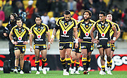 Dejected Warriors players during the 2013 NRL season. Vodafone Warriors v Canterbury Bulldogs at Westpac Stadium, Wellington, New Zealand on Saturday 11 May 2013. Photo: Justin Arthur / photosport.co.nz