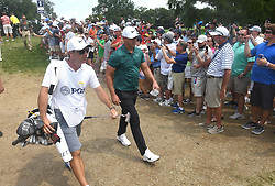 August 12, 2018 - St. Louis, Missouri, U.S. - ST. LOUIS, MO - AUGUST 12: Eventual PGA winner Brooks Koepka is greeted by fans as he walks to the #2 tee during the final round of the PGA Championship on August 12, 2018, at Bellerive Country Club, St. Louis, MO.  (Photo by Keith Gillett/Icon Sportswire) (Credit Image: © Keith Gillett/Icon SMI via ZUMA Press)