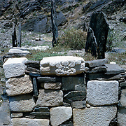 Late Summer? 1965<br /> Corner of wall around Muslim graves with several reused decorated marbles pirated from earlier Hindu and Muslim structures.
