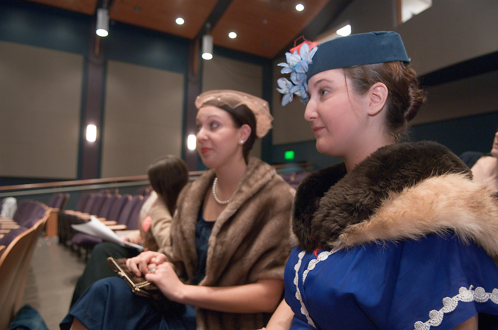 """Day in the life of Baker Center..""""Harvey"""" a Play in rehearsal by Lost Flamingo Company, A student run theater group...(right)Sarah Krause, Casey Feran"""