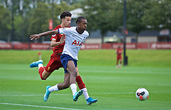 KIRKBY, ENGLAND - Saturday, August 10, 2019: Liverpool's Curtis Jones and Tottenham Hotspur's Paris Maghoma during the Under-23 FA Premier League 2 Division 1 match between Liverpool FC and Tottenham Hotspur FC at the Academy. (Pic by David Rawcliffe/Propaganda)