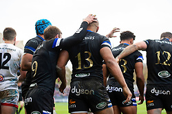 Will Chudley and Jonathan Joseph of Bath Rugby celebrate a try from tea-mate Gabriel Hamer-Webb - Mandatory byline: Patrick Khachfe/JMP - 07966 386802 - 16/11/2019 - RUGBY UNION - The Recreation Ground - Bath, England - Bath Rugby v Ulster Rugby - Heineken Champions Cup