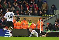 LIVERPOOL, ENGLAND - Sunday, January 17, 2016: Manchester United's captain Wayne Rooney celebrates scoring the winning goal against Liverpool during the Premier League match at Anfield. (Pic by David Rawcliffe/Propaganda)