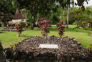 The grave site of Charles Lindbergh at Palapalo Ho'omau Church Cemetery, Kipahulu in.Southeast Maui.