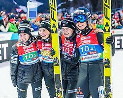 25.02.2019, Seefeld, AUT, FIS Weltmeisterschaften Ski Nordisch, Seefeld 2019, Skisprung, Damen, Teambewerb, Wertungssprung, im Bild v.l. Ingebjoerg Saglien Braaten (NOR), Silje Opseth (NOR), Anna Odine Stroem (NOR), Maren Lundby (NOR) // f.l. Ingebjoerg Saglien Braaten Silje Opseth Anna Odine Stroem and Maren Lundby of Norway during the competition jump for the ladie's skijumping HS109 team competition of FIS Nordic Ski World Championships 2019. Seefeld, Austria on 2019/02/25. EXPA Pictures © 2019, PhotoCredit: EXPA/ Stefan Adelsberger