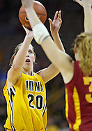 December 09 2010: Iowa forward Kelly Krei (20) puts up a shot during the first half of their NCAA basketball game at Carver-Hawkeye Arena in Iowa City, Iowa on December 9, 2010. Iowa defeated Iowa State 62-40 in the Hy-Vee Cy-Hawk Series rivalry game.