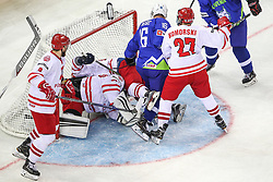Ales Music of Slovenia in action at Polish goal during Ice Hockey match between National Teams of Slovenia and Poland in Round #2 of 2018 IIHF Ice Hockey World Championship Division I Group A, on April 23, 2018 in Budapest, Hungary. Photo by David Balogh / Sportida