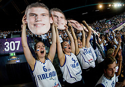 Supporters of Lauri Markkanen of Finland during basketball match between National Teams of Finland and Iceland at Day 7 of the FIBA EuroBasket 2017 at Hartwall Arena in Helsinki, Finland on September 6, 2017. Photo by Vid Ponikvar / Sportida