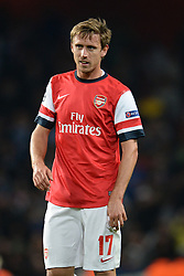 LONDON, ENGLAND - Oct 01: Arsenal's defender Nacho Monreal from Spain during the UEFA Champions League match between Arsenal from England and Napoli from Italy played at The Emirates Stadium, on October 01, 2013 in London, England. (Photo by Mitchell Gunn/ESPA)