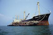 Logging Transport Raft Boat Sea River Sarawak