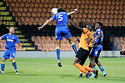 AFC Wimbledon defender Will Nightingale (5) with header on goal during the EFL Trophy match between Barnet and AFC Wimbledon at Underhill Stadium, London, England on 29 August 2017. Photo by Matthew Redman.