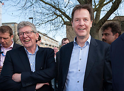 © Licensed to London News Pictures.  06/04/2015. Bath, UK.  Don Foster (left) with Nick Clegg, leader of the Liberal Democrats who visited Bath to launch the Lib Dem's general election campaign in Bath where Lib Dem MP Don Foster is standing down and PPC Steve Bradley is standing for the Lib Dems.  Photo credit : Simon Chapman/LNP