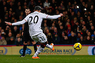 Robin van Persie of Manchester United scores the opening goal from the penalty spot during the Barclays Premier League match at Selhurst Park, London<br /> Picture by David Horn/Focus Images Ltd +44 7545 970036<br /> 22/02/2014